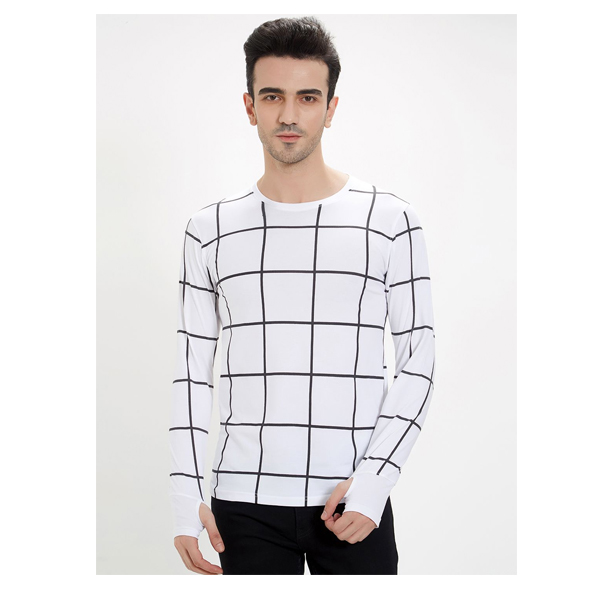 FASHNET (FI00020) White Check Cotton Round Neck Slim Fit Full Sleeve Men's Knitted T-Shirt (White)
