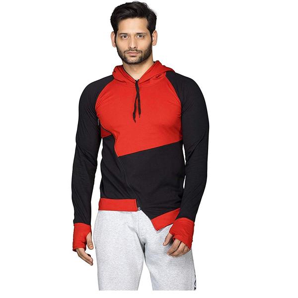 FASHNET (FI00037) Color block Men Hooded Multicolor T-Shirt