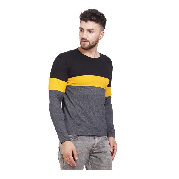 FASHNET (FID0006) Solid Cotton Round Neck Regular Full Sleeve Men's T-Shirt (Multicolor)