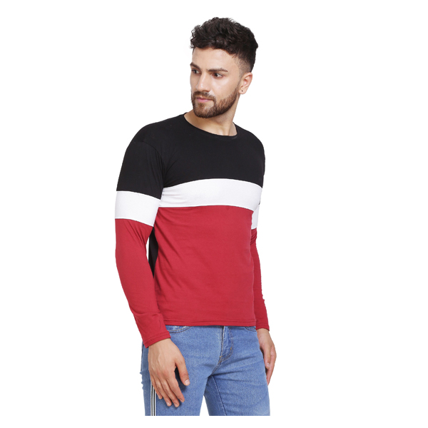 FASHNET (FID0007) Solid Cotton Round Neck Regular Full Sleeve Men's T-Shirt (Multicolor)