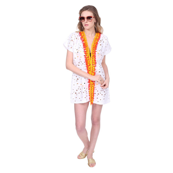 FLORAL COTTON LACE SWIM COVERUP