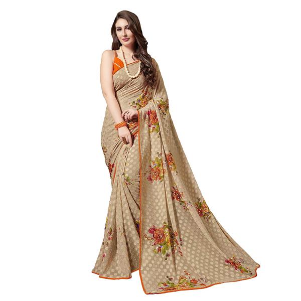Gaurangi Creation (KLS1007) Women's Chiffon Floral Printed Casual Wear Saree (Beige)
