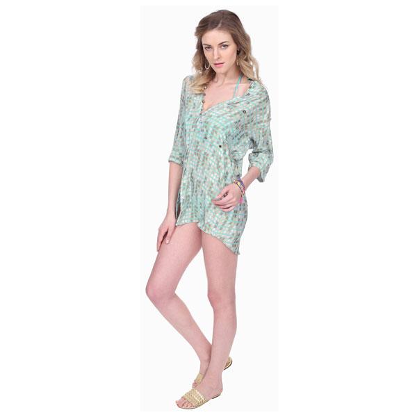 GEOMETRIC CREPE SHIRT DRESS