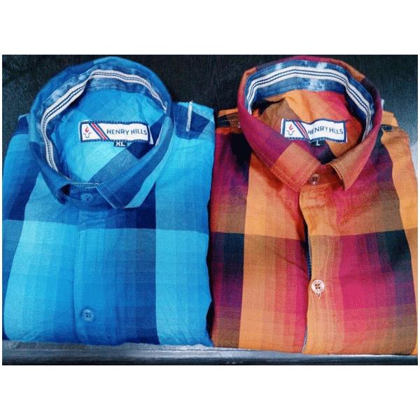 Henry Hills Cotton Full Sleeves Men's Shirt Checks Kota Doria
