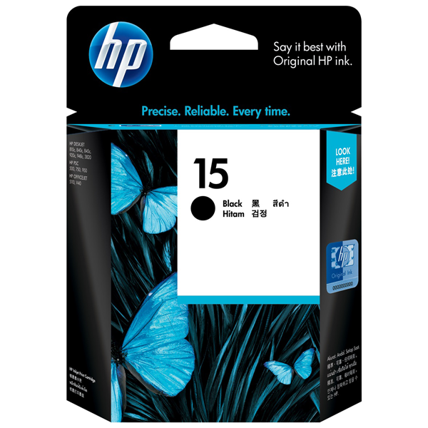HP 15 Black Ink Cartridge C6615DA
