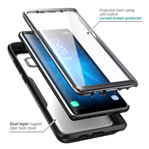 i-Blason (B074W3WBVC) Case for Galaxy Note 8, (Magma Series) Built-in Screen Protective Clear Back Cover with Holster (Heavy Duty) Belt Clip Shell (Black)