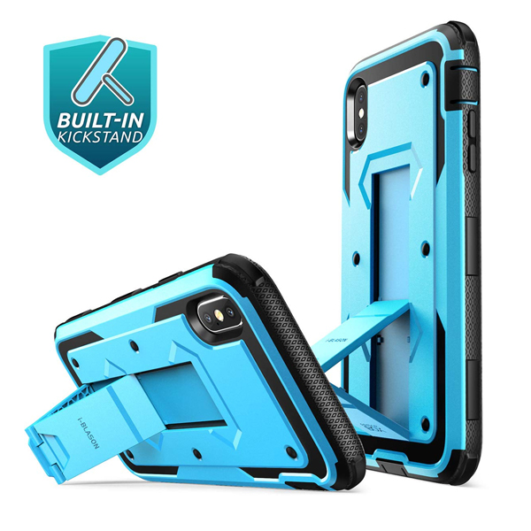 i-Blason (B07H9LRW79) Case for iPhone Xs Max 2018 Release, (Built in Screen Protector)(Armorbox) Full Body Heavy Duty Protection Kickstand Shock Reduction Case, Blue, 6.5""