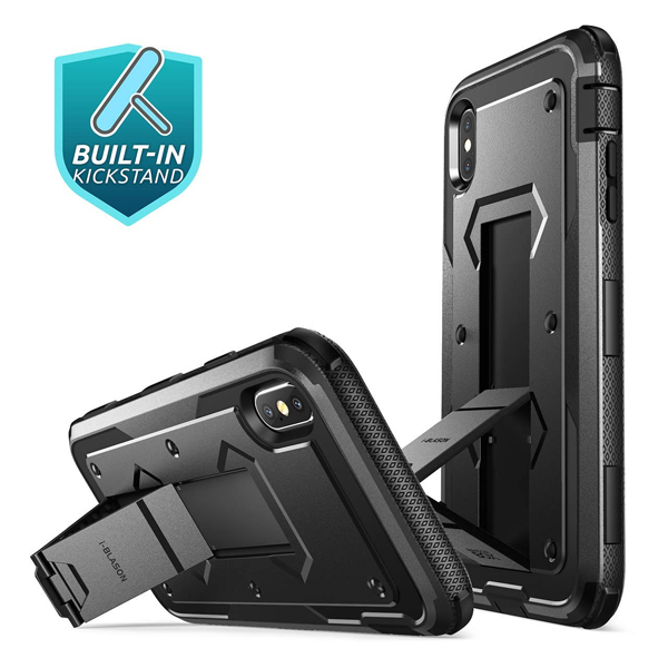 iPhone Xs Max Case(B07H2Y4LTC) (Armorbox) i-Blason (Built in Screen Protector)(Full Body) (Heavy Duty Protection) (Kickstand) Shock Reduction Case for iPhone Xs Max 6.5 inch (2018) (Black)