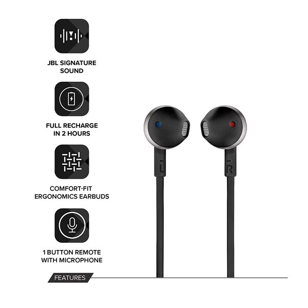 JBL (T205BT) Pure Bass Wireless Metal Earbud Headphones with Mic