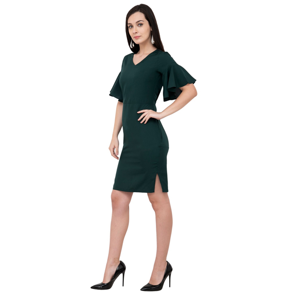 Karmic Vision (SKU000947) Crepe Body con Dress (Green)