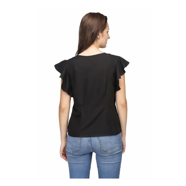 Karmic Vision (SKU000242) Women's Crepe Ruffle Casual Top (Black)