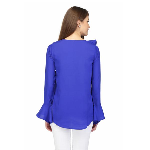 Karmic Vision Women's Crepe Dark Blue Color Solid Casual Top
