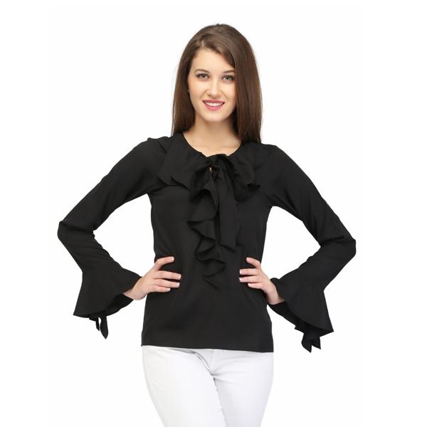 Karmic Vision (SKU000285) Women's Crepe Black Color Solid Casual Top