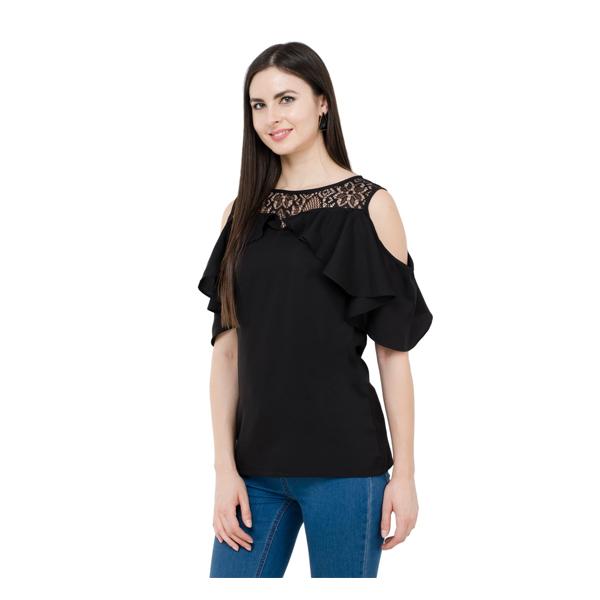 Karmic Vision (SKU000769) Casual Sleeveless Solid Women Black Top