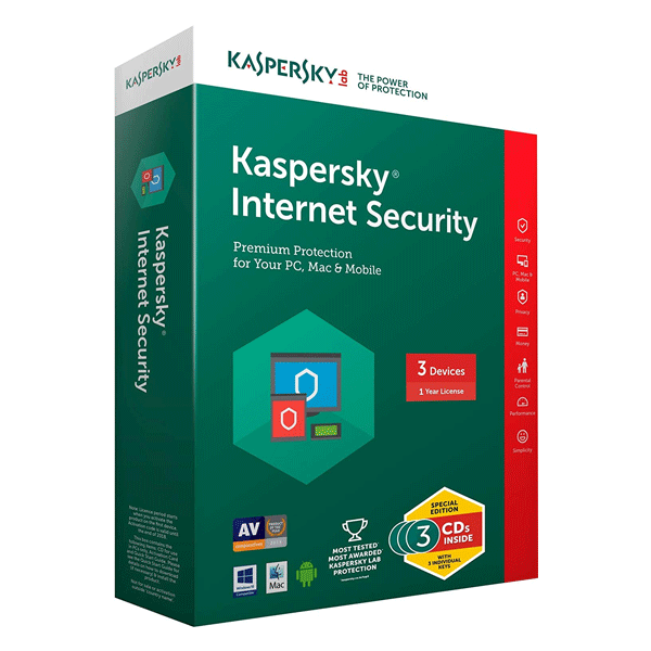 Kaspersky Internet Security Latest Version- 3 Users, 1 Year (3 CDs inside with Individual keys)