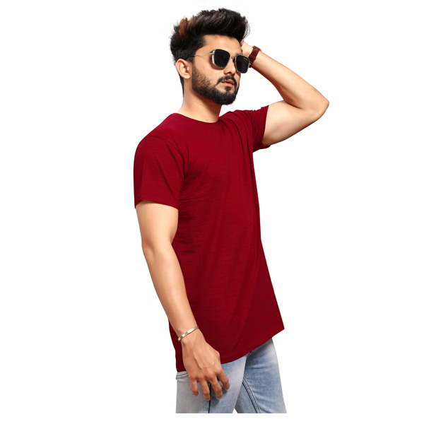 Less Q Branded Slub Lycra Mens T Shirt (Maroon)