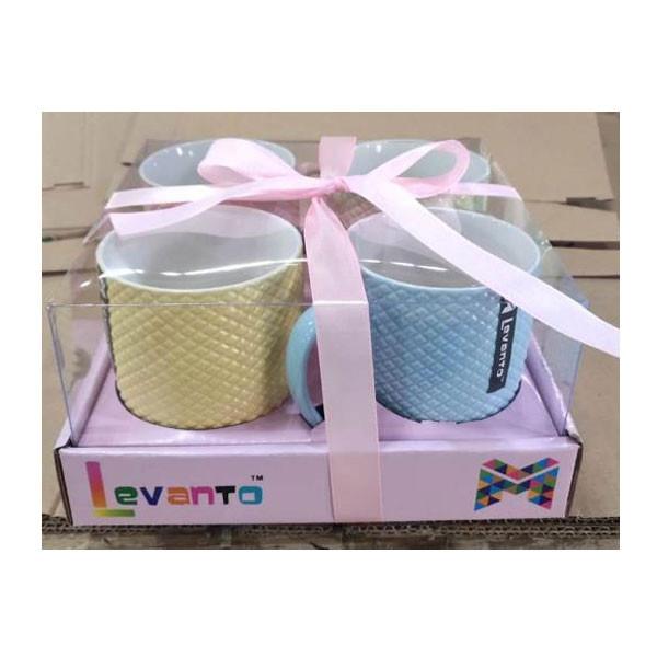 Levanto Mug/ Multi Colour/ Multi Design/ Material Ceramic ( Set Of 4)
