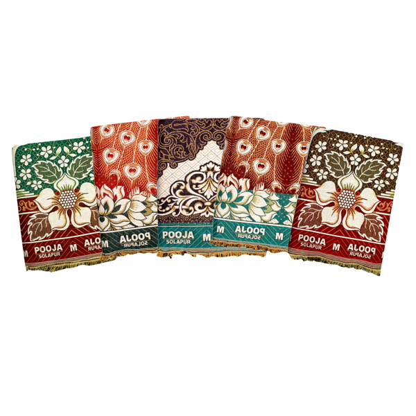 Mandhania (PCS01) Pooja Solapur Chaddar 100% Cotton Dailyuse Single Bed Blanket (Assorted Design and Color)