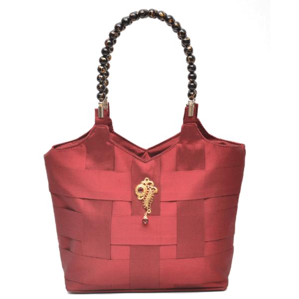 Nehas NHSB-001 Bags Embroidered Ladies Silk Hand Bag Bead Handle Maroon