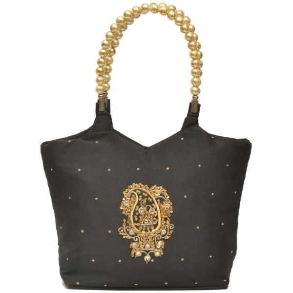 Nehas NHSB-002 Bags Embroidered ladies Silk Hand Bag bead handle Black