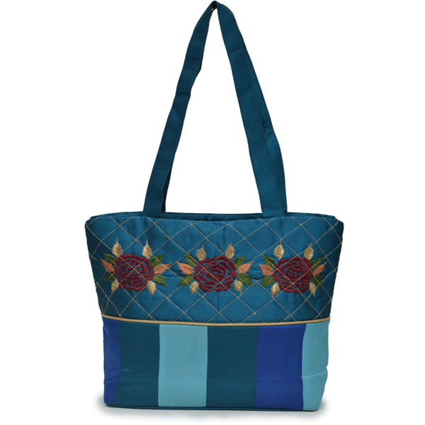 Nehas NHSS - 056 Bags Embroidered Ladies Silk Hand Bag Strap Handle (Blue)