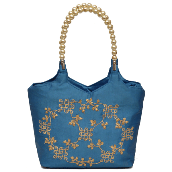 Nehas NHSB-016 Bags Embroidered Ladies Silk Hand Bag Bead Handle(Blue)