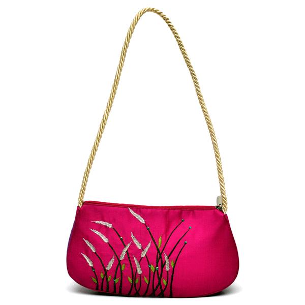 Nehas NHSR-028 Bags Embroidered Ladies Silk Hand Bag Rope Handle (Pink)