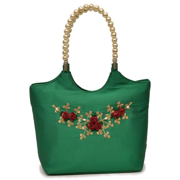 Nehas NHSB-018 Bags Embroidered ladies Silk Hand Bag Bead Handle (Green)