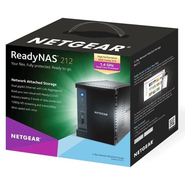 Netgear ReadyNAS 212 RN21200-100INS 2-Bay Diskless Network Attached Storage for Personal Cloud Black