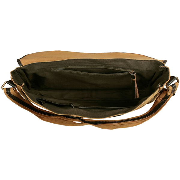 NEUDIS - LAPTOP2PEACE, Genuine Leather & Recycled Stone Washed Canvas Spacious Laptop Messanger Bag - Original - Brown