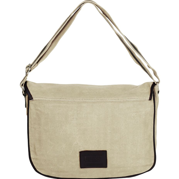 NEUDIS - LAPTOP2PEACE, Genuine Leather & Recycled Stone Washed Canvas Spacious Laptop Messanger Bag - Peace Begins With Smile - Beige