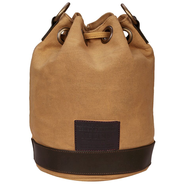 NEUDIS - BUCKETSCRUM, Genuine Leather & Recycled Stone Washed Canvas Casual Tassel Bucket Bag - Scrum Agile - Brown