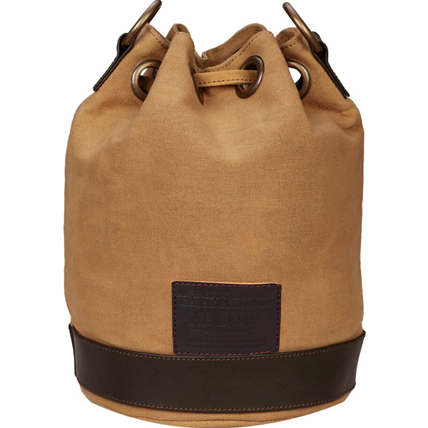 NEUDIS - BUCKETINCEPTION, Genuine Leather & Recycled Stone Washed Canvas Casual Tassel Bucket Bag - Dream Feel Real Inception - Brown