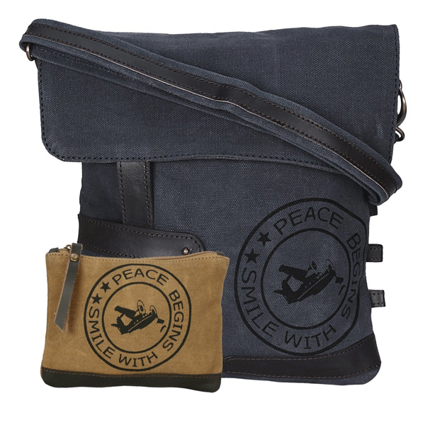NEUDIS Genuine Leather & Recycled Stone Washed Canvas Travel Sling / Cross Body Bag for iPad & Tablet - Peace Begins With Smile - Blue