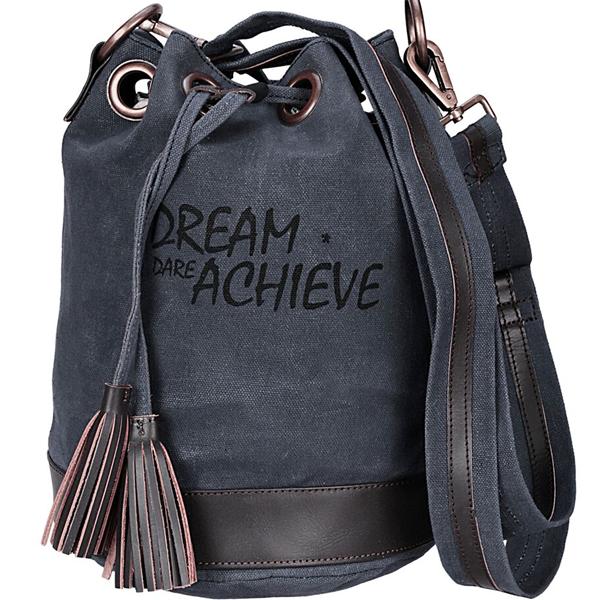 NEUDIS - BUCKETACHIEVE, Genuine Leather & Recycled Stone Washed Canvas Casual Tassel Bucket Bag - Dream Dare Achieve - Blue