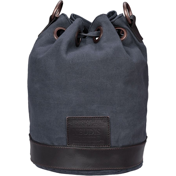 NEUDIS - BUCKETAINCEPTION, Genuine Leather & Recycled Stone Washed Canvas Casual Tassel Bucket Bag - Dream Feel Real Inception - Blue