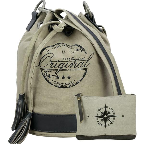 NEUDIS - BUCKETORIGINAL, Genuine Leather & Recycled Stone Washed Canvas Casual Tassel Bucket Bag - Original - Beige