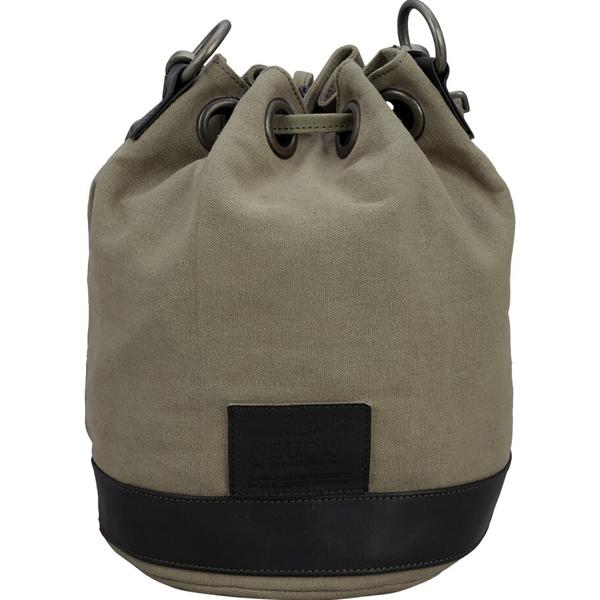 NEUDIS - BUCKETSCRUM, Genuine Leather & Recycled Stone Washed Canvas Casual Tassel Bucket Bag - Scrum Agile - Green