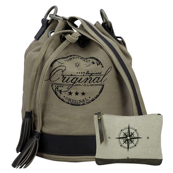 NEUDIS - BUCKETORIGINAL, Genuine Leather & Recycled Stone Washed Canvas Casual Tassel Bucket Bag - Original - Green