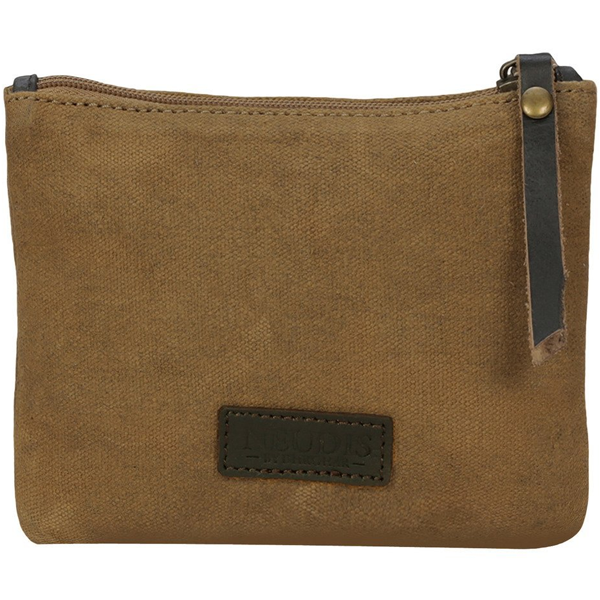 NEUDIS - POUCHPEACE, Genuine Leather & Recycled Stone Washed Canvas Utility Pouch - Peace Begins With Smile - Brown