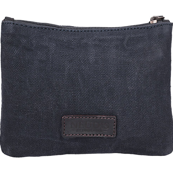 NEUDIS - POUCHGIRL, Genuine Leather & Recycled Stone Washed Canvas Utility Pouch - Beauty - Blue