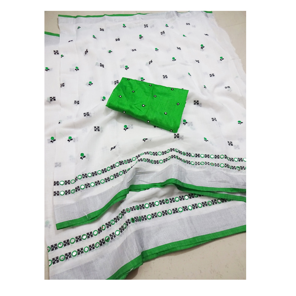 Ojhas Soft Linen Traditional Saree With Matching Blouse (Green)