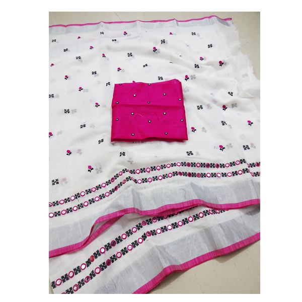 Ojhas Soft Linen Traditional Saree With Matching Blouse (PINK)