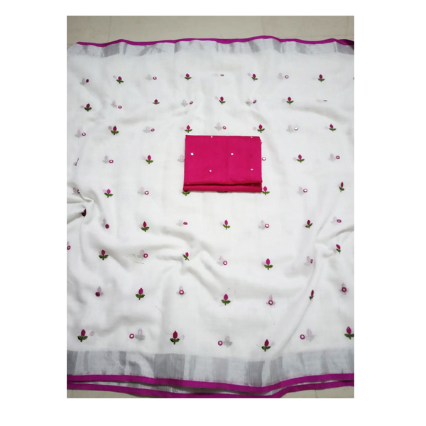 Ojhas (SUBH-DREAM-GIRL-PINK) Soft Linen Traditional Saree With Matching Blouse (Pink)