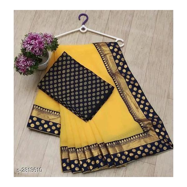 Ojhas (MEENA-BORDER-YELLOW) Marvel Chiffon Formal Wear Saree (Yellow)