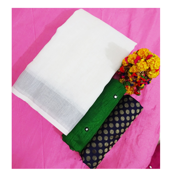 Ojhas (LINEN-KING-GREEN) Linen Saree With Double Blouse (Green)