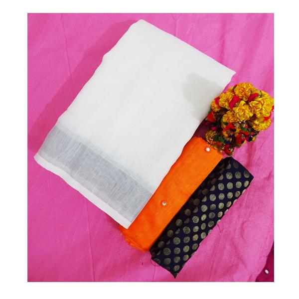 Ojhas (LINEN-KING-ORANGE) Linen Saree With Double Blouse (Orange)