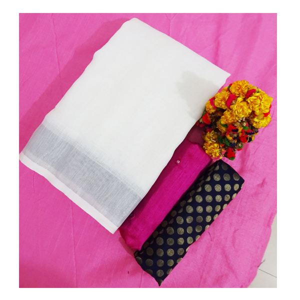 Ojhas (LINEN-KING-PINK) Linen Saree With Double Blouse (Pink)