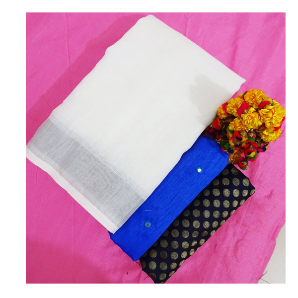 Ojhas (LINEN-KING-ROYAL-BLUE) Linen Saree With Double Blouse (Royal Blue)