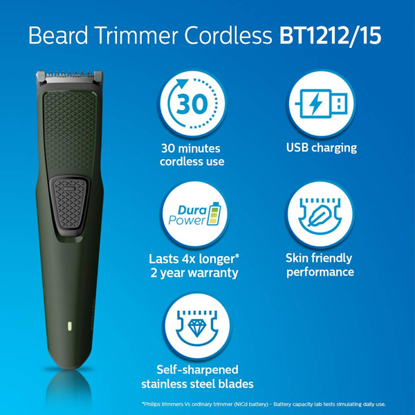 Philips BT1212/15 Series 1000 USB charging cordless rechargeable Beard Trimmer